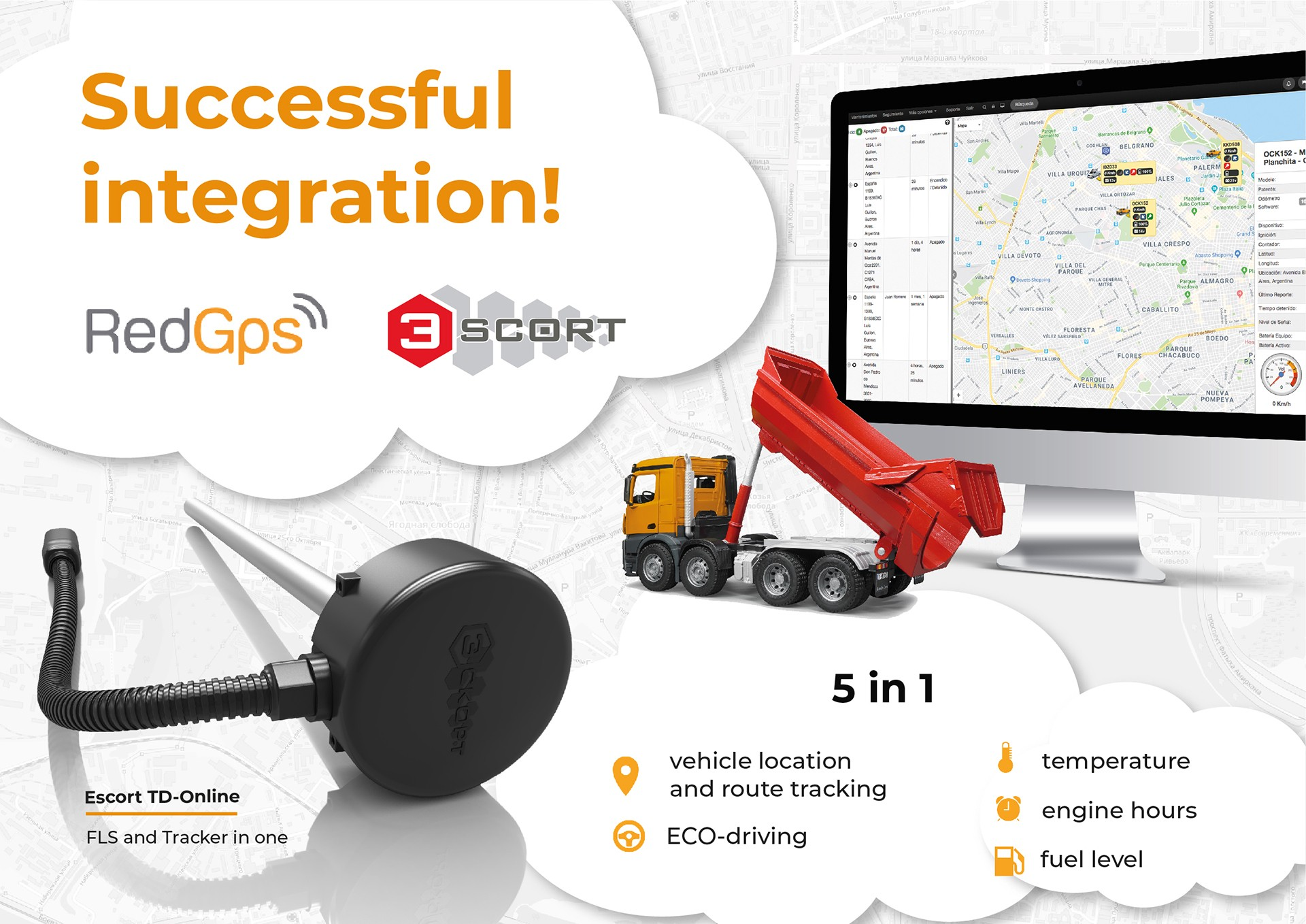 integration of RedGPS and fuel level sensor Escort TD-ONLINE