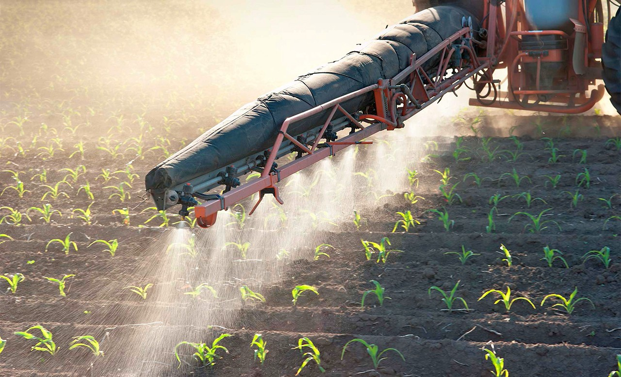 irrigation of land and soil spraying of crops